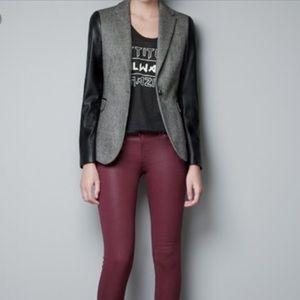 Zara Wool Faux Leather Sleeve Blazer
